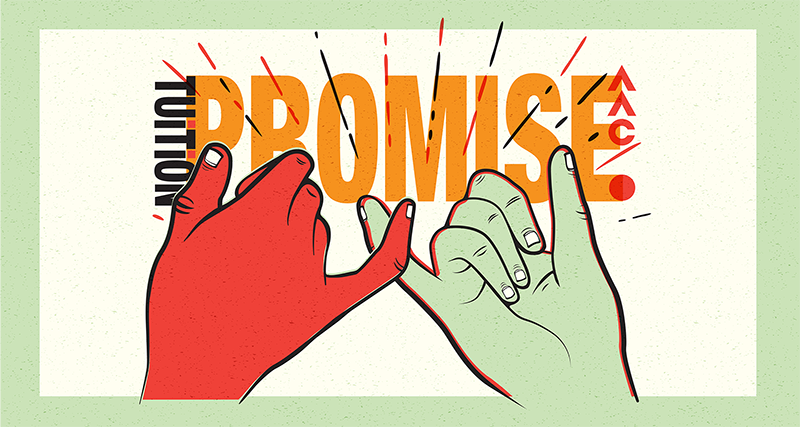 Four Year Tuition Promise, hands making pinky swear