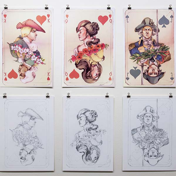 thumbnail link showing 6 illustrations from a deck of cards