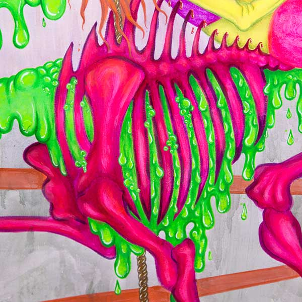 thumbnail link showing a neon installation of an animal's skeleton