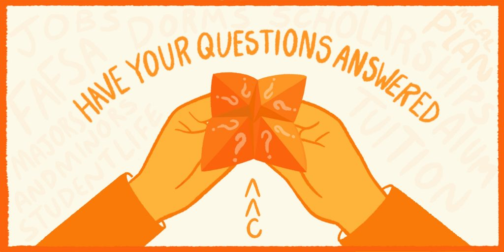 Orange image of hands holding a paper with question marks.