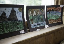 Landscapes drawn in colored marker.
