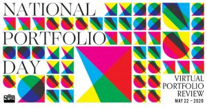 """Image that says """"National Portfolio Day"""". There are abstract geometric shapes around."""