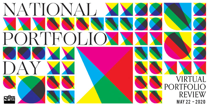 "Image that says ""National Portfolio Day"". There are abstract geometric shapes around."