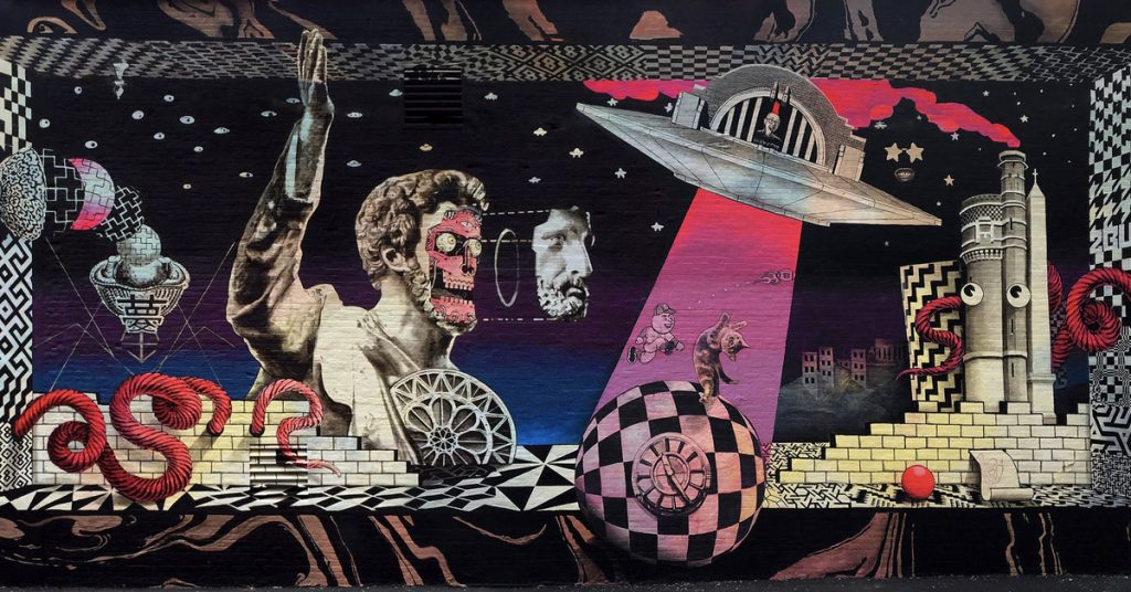 A photograph of the cincinnautimural, located on the side of the Know Theatre in Cincinnat.